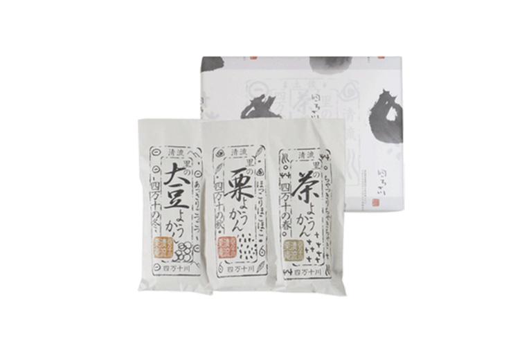 清流栗庵 3種のようかん 栗 大豆 茶