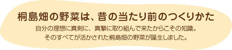 桐島畑の野菜 昔のあたりまえの作り方