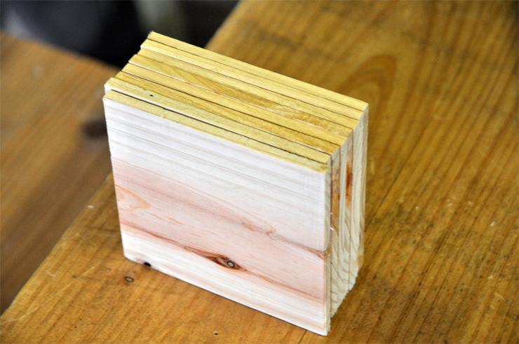 建築用木材の端材や間伐材を使用